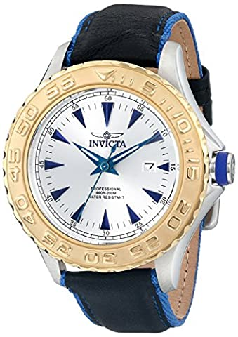 Invicta Men's 12615 Pro Diver Stainless Steel Watch With Black/Blue Leather Strap (Invicta Watch Black Leather)