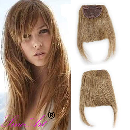 SinoArt Human Hair Front Clip-in Hair Bangs Full Fringe Short Straight Brazilian Virgin Human Hair Hairpieces Extensions for Women 6-8inch (#27 Strawberry Blonde)