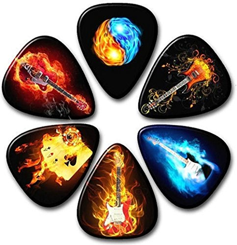HUNDUN 12 Pack Colorful Guitar Picks Unique Guitar Gift For Bass Electric & Acoustic Guitars Different thin 0.46mm 0.71mm 0.96mm (#1)