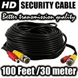 Ventech Pre-made All-in-One BNC Video and Power Cable Wire Cord with Connector for CCTV Security Camera 100Ft