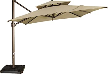 Abba Patio 9 by 12-Feet Rectangular Dual Wind Vent Patio Hanging Umbrella