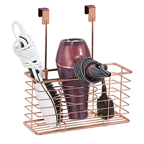 mDesign Farmhouse Metal Bathroom Over Cabinet Door Hair Care & Styling Tool Organizer Storage Basket for Hair Dryer, Flat Iron, Curling Wand, Hair Straightener, Brushes - Holds Hot Tools - Rose Gold