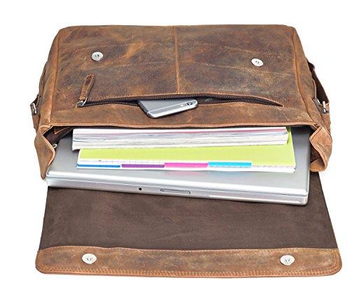 Packenger Vethor Messenger bis 15 Zoll aus Leder Umhängetasche, 40 cm, Schwarz Vintage Braun