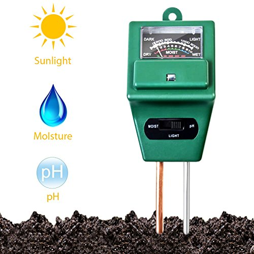 Soil Tester,3-in-1 Soil Moisture,ph Meter Test Kit with Light Gauge Function,Soil Analyzer Detector for Testing PH Acidity,Moisture,Sunlight Intensity,Indoor Outdoor Garden Farm Lawn Plant Flower
