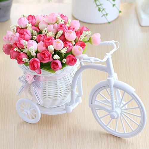 UHBGT Plant Stand, Simulation Bicycle Basket Furnishing Floats Decorative Mini Garden with Artificial Flower for Home…