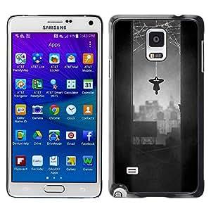 MobileHut / Samsung Galaxy Note 4 SM-N910F SM-N910K SM-N910C SM-N910W8 SM-N910U SM-N910 / Spider Hero Comic Character Grey Web / Delgado Negro Plástico caso cubierta Shell Armor Funda Case Cover