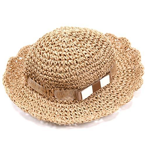 (accsa Baby Summer Scallop Edge Straw Floppy Panama Sun Hat SPF)