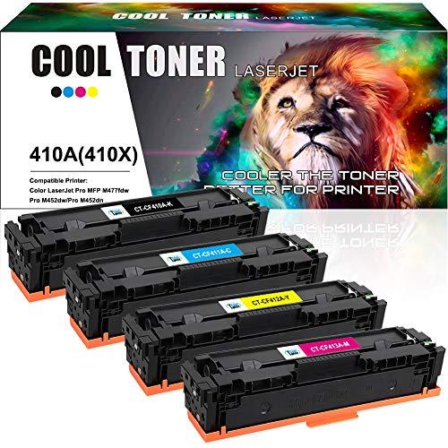 Cool Toner Compatible Toner Cartridge Replacement for HP 410A CF410A CF411A CF412A CF413A 410X CF410X M477FDW for HP Laserjet Pro MFP M477fdw M477fnw M477fdn Pro M452dn M452dw M452nw Toner Ink Printer ()