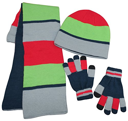 - N'Ice Caps Kids Reversible Knitted Hat/Scarf/Magic Stretch Glove Accessory Set (7-10 Years, Navy/Silver/Neon Green/Red with Touchscreen)