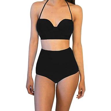 64e926287309 Damen Retro Badeanzug CLOOM einfarbige Neckholder Bikini Set Hoher Taille  Swimsuit Hohe Taille Party Sets Srand Bauchweg Bademode Mini Vintage  Beachwear ...