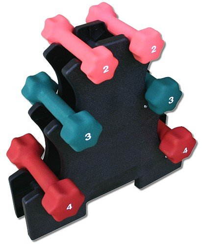 Neoprene-Dumbbell-Set-2lb-3lb-4lb-w-Rack