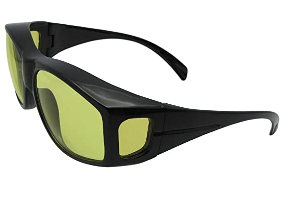 f6b10294ccf Amazon.com  Large Non Polarized Fit Over Sunglasses Wrap Around Style F18  (Flat Black-Non Polarized Amber Lens)  Clothing