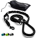 FLASH SALE | Heavy Duty Rope Leash for Large and Medium Dogs with Anti-pull Bungee for Shock Absorption - No Slip Reflective Leash for Outside – Suitable for Dog Training and Walking (Black)