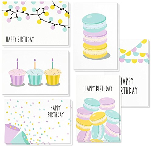 Birthday Cards Box Set - 48 Pack Happy Birthday Cards, 6 Dessert and Festive Designs, Birthday Cards Bulk, Envelopes Included, 4 x 6 Inches