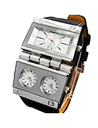 Oulm Replicate Dial Quartz Hours Men Bussiness Sport Wrist Watch Three Time Display by Oulm