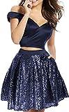 DMDRS Women's Two Pieces Sequins Short Homecoming Dress Ball Navy Blue