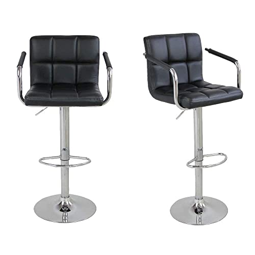 Leoneva 1 Pair Faux Leather Swivel Bar Stools Adjustable Lift Swivel Chair with Backs and Chrome Base for Kitchen Counter, Restaurant, Stores US Stock Black 2