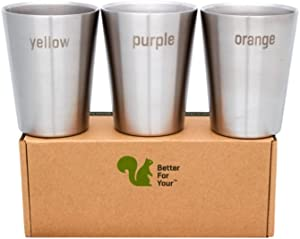 Better For Your - Stainless Steel Kids Cups Double Wall Small Tumblers - Set of 3-8oz (250ml) - Literal Color Range - yellow-purple-orange