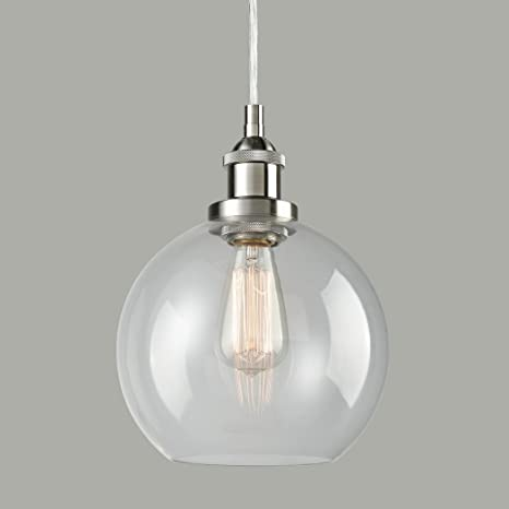 Claxy ecopower lighting vintage clear glass globe pendant brushed claxy ecopower lighting vintage clear glass globe pendant brushed nickel hanging light mozeypictures Image collections