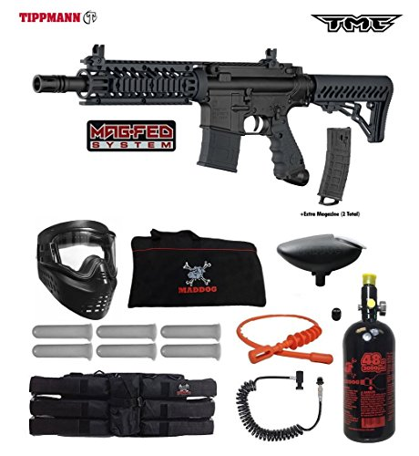 Tippmann TMC MAGFED Corporal HPA Paintball Gun Package - Black/Black