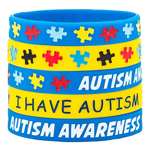 (Infinite Memories 5 Pack Autism Awareness Silicone Sports Wristband Bracelets Jigsaw Colored Puzzle Pieces I Have)