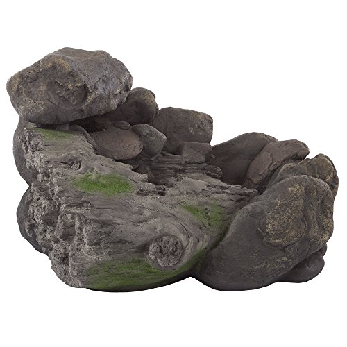 (Outdoor Water Fountain With Stone Waterfall, Natural Looking Rock and Soothing Sound for Decor on Patio, Lawn and Garden By Pure Garden)