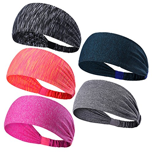 Sweatbands Sports Headbands Wicking Stretchy Head Wrap Ideal for Yoga/Cycling/Running /Fitness Exercise Head Sarf Pullover for Women and Men 5PCS