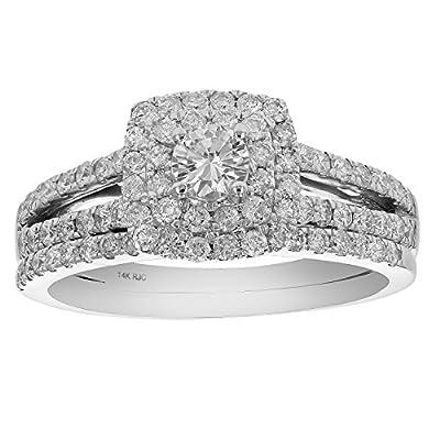 1 CT Diamond Prong Set Wedding Engagement Ring Set 14K White Gold