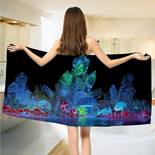 - alisoso Psychedelic Bathroom Towels Magic Crystals Background Effects Mystic Nature Artistic with Neons Image Print Towels Set Navy Black
