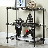 Hyun times Kitchen Shelf Multi-storey Stainless Steel Floor Microwave Shelf Three Metal Storage Rack