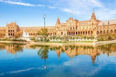 Plaza de España, Sevilla (77754816), lona, 80 x 50 cm: Amazon.es: Hogar
