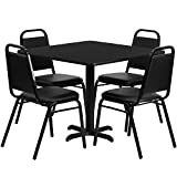 Flash Furniture HDBF1009-GG 36-Inch Square Black Laminate Table Set with 4 Black Trapezoidal Back Banquet Chairs