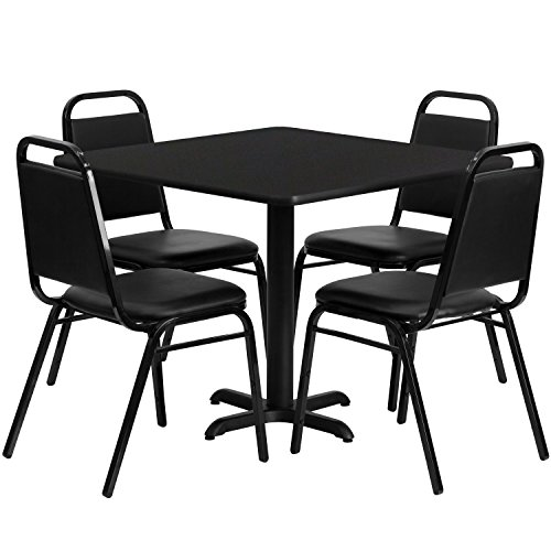 Flash Furniture 36'' Square Black Laminate Table Set with 4 Black Trapezoidal Back Banquet Chairs (Wholesale Furniture Sets)