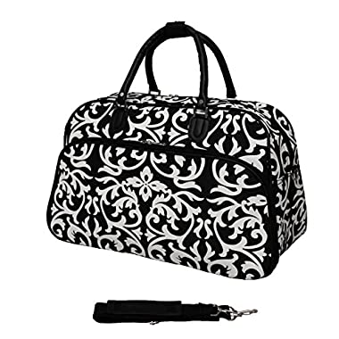 World Traveler 21-Inch Carry-On Shoulder Tote Duffel Bag, Black Trim Damask, One Size