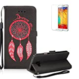 Galaxy A7 Wallet Case.Galaxy A7 Case .Funyye Retro Emboss Fashion Dream Catcher PU Leder Wallet with Card Holder Slots Stand Protective Case for Samsung Galaxy A7 (2016 Model)-Black