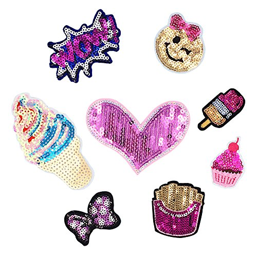 (8 Pcs Iron On Embroidered Motif Applique Glitter Sequin Decoration Patches DIY Sew on Patch for Jeans, clothing)