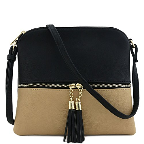 (Lightweight Medium Crossbody Bag with Tassel (Black/Taupe))