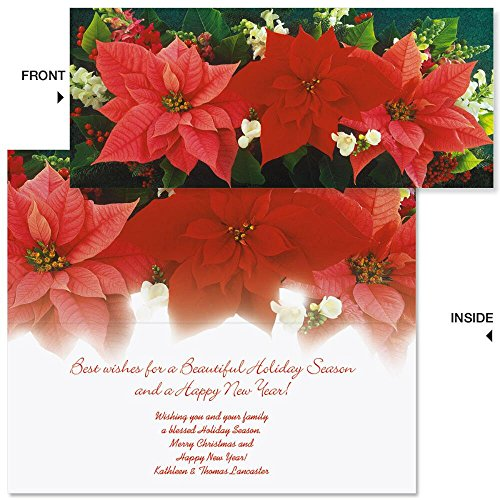 (Poinsettia Trio Slimline Personalized Holiday Cards (Set of 20))
