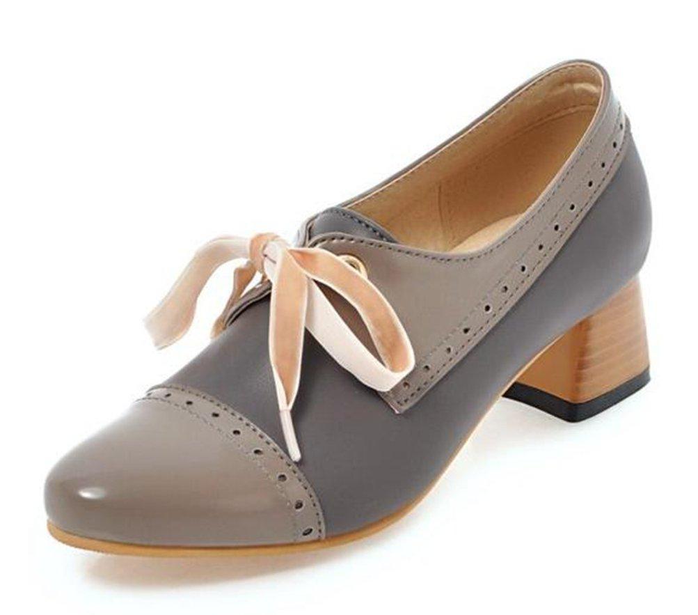 Easemax Damen Lace Up Low Ankle Blockabsatz Derbys Chunky Heels Schnuuml;rhalbschuhe mit Absatz34 EU Grau