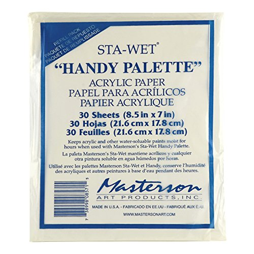 Masterson Sta-Wet Handy Palette pack of 30 handy palette acrylic paper 8 1/2 in. x 7 in.,White -