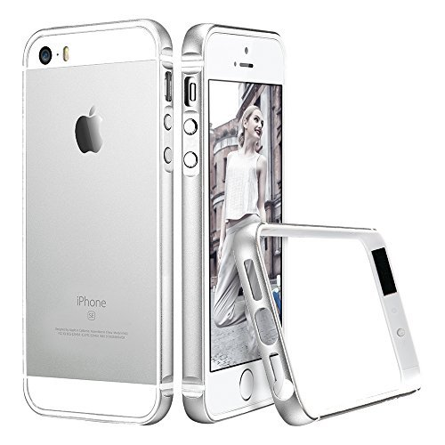 iPhone SE Case, ESR iPhone SE Metal Bumper [Bumper Only No Back Plate] Metal Frame / Bumper for iPhone 5 / 5s / SE Fluencia Series [Shock Absorbent] (Silver)