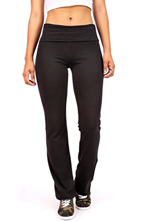 8c05bf7901b1c Ambiance Women's Juniors Foldover Soft and Stretchy Yoga Pants at Amazon  Women's Clothing store: