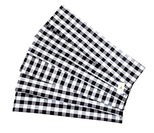 HomeStrap Black and White Checks Dinner/ Table Napkins – Size 16″X16″ – Pack of 6…