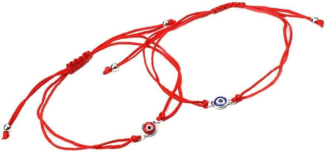 Trifycore 2 Pcs Eye Bracelet Braid Lucky Evil Eye Bangle Flexible Cord Rope Bracelet Friendship Bracelet Jewelry Set for Men Women Red Blue