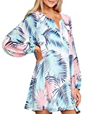 CILKOO Ladies Tunic Blouses Notch Neck Flare Tops Shirt Casual V Neck Long Sleeve Puff Sleeve Beach Chiffon Floral Shift Dress Light Blue US16-18 X-Large