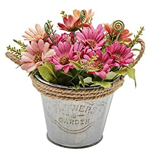 OneHippo Artificial Flowers Potted Delicate Silk Hand Made Fake Flowers with Iron Flower Pot for Home Décor 27