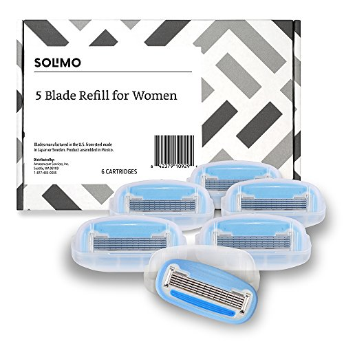 Solimo 5-Blade Razor Refills for Women, 6 Refills (Fits Solimo Razor Handles only)