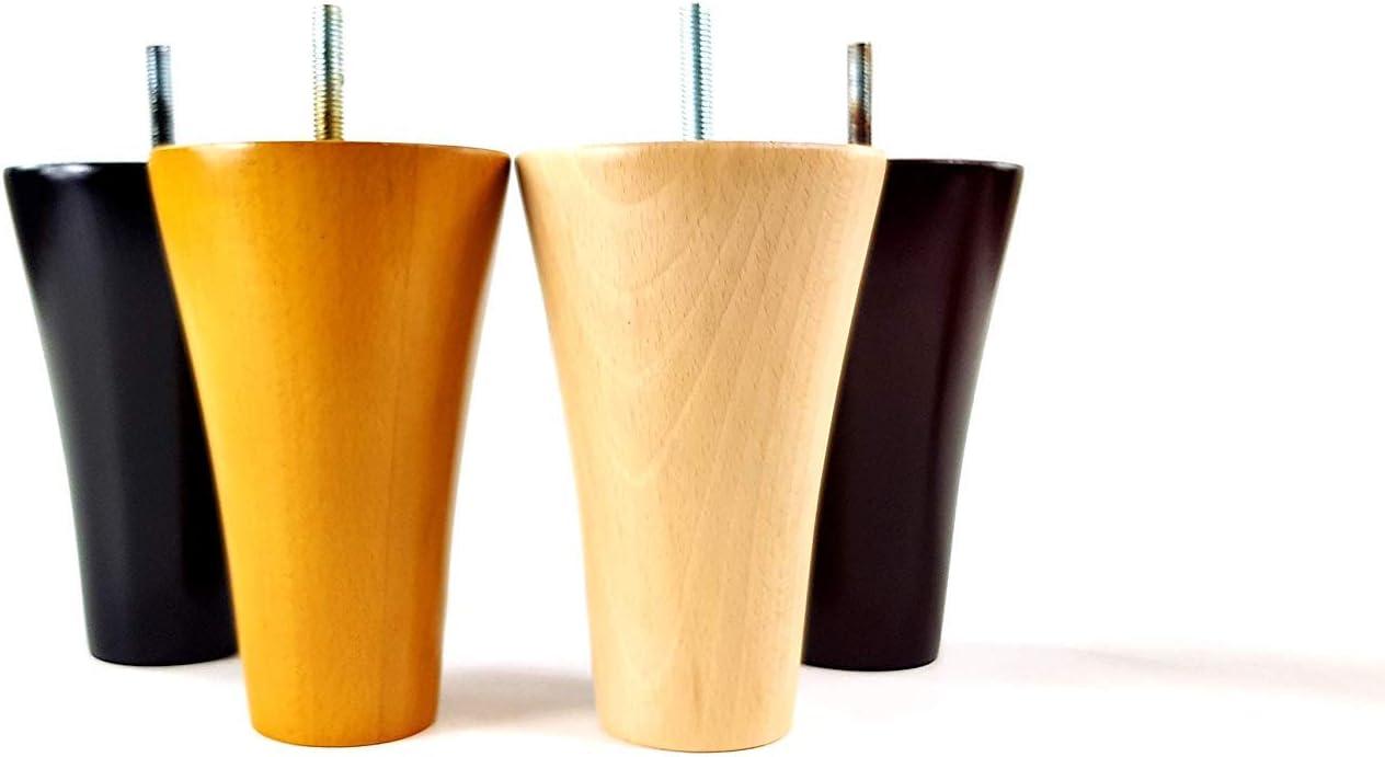 Gambe in legno, altezza 135 mm, set di 4 piedini di ricambio