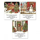 Winterberry Square Chrismtas Address Labels (3 Designs) - Set of 144 1-1/2 x 1-3/4 Self-Adhesive, Flat-Sheet holiday labels
