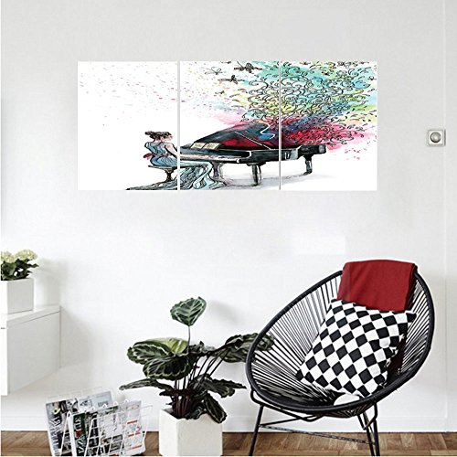 Liguo88 Custom canvas Music Decor Collection Grand Piano Music Butterflies Ornamental Pianist Swirls Vintage Image Pattern Bedroom Living Room Wall Hanging Teal Green Red (Stand Finish Tv Gloss Piano)